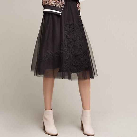 27e7f169c Anthropologie Dresses & Skirts - Anthropologie Maeve Fleurs du Nuit Tulle  Skirt